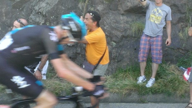 Chris Froome in hot pursuit. He'd win the stage and the Yellow Jersey.