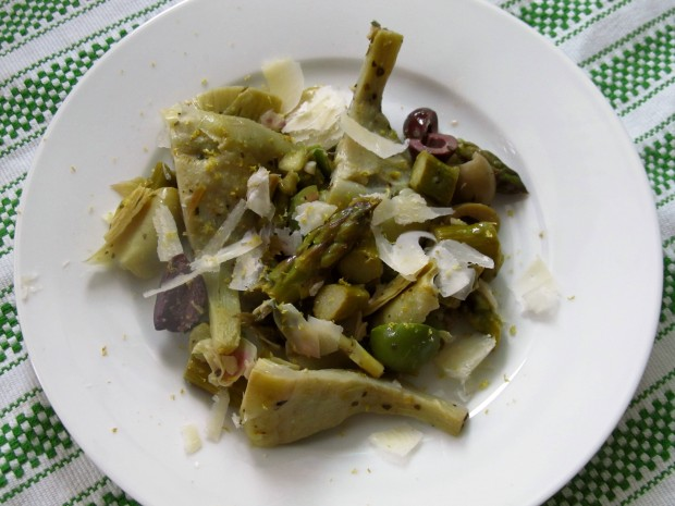 Artichokes asparagus olives and lemon