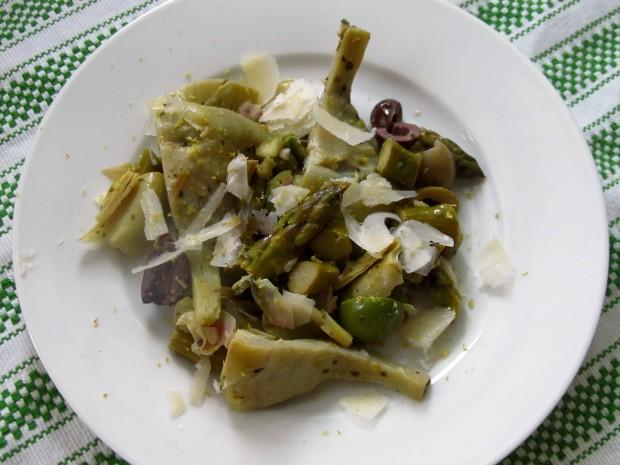 Artichokes asparagus olives and lemon
