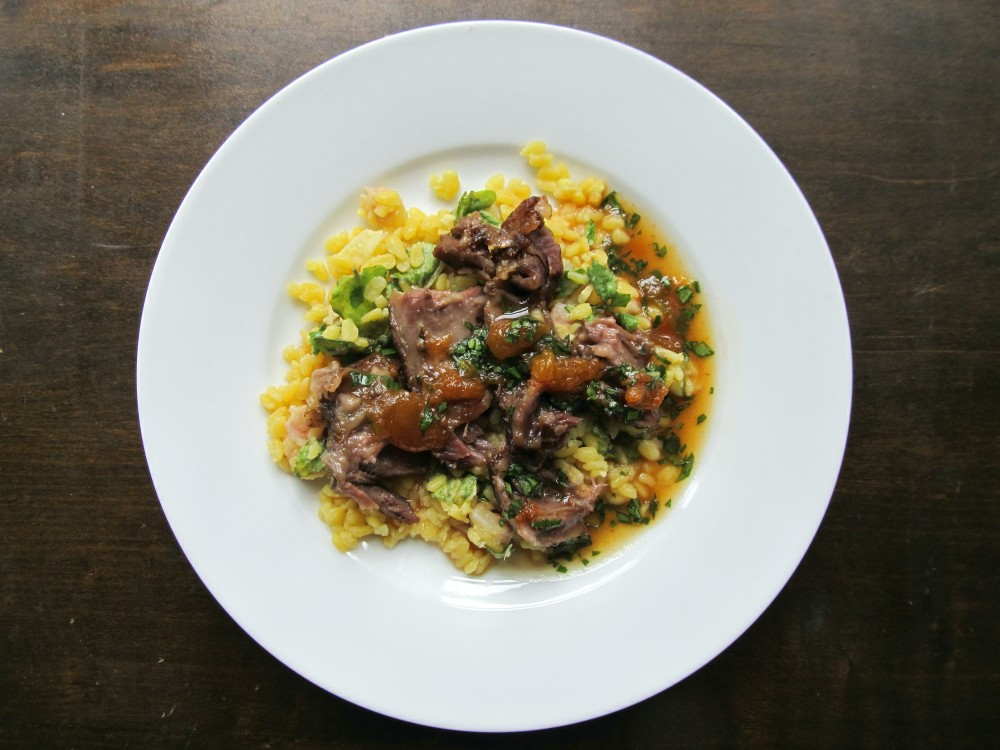Ginger beer pork cheeks with apricot ginger basil sauce
