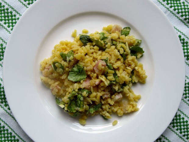 Yellow Lentils with Pickeld Ginger and watercress