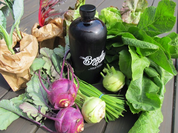 This week's haul: kohlrabi, chives, horseradish greens, red leaf lettuce, seedlings of swiss chard and yes...kale. Oh and the quart of Begyle beer.