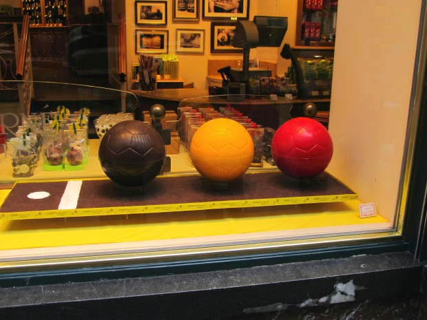 Belgian flag colored chocolate soccer balls