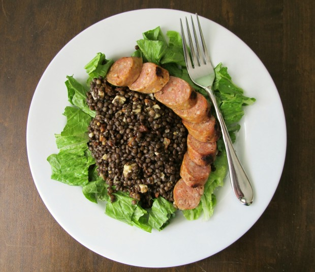 Beluga lentils and grilled sausage