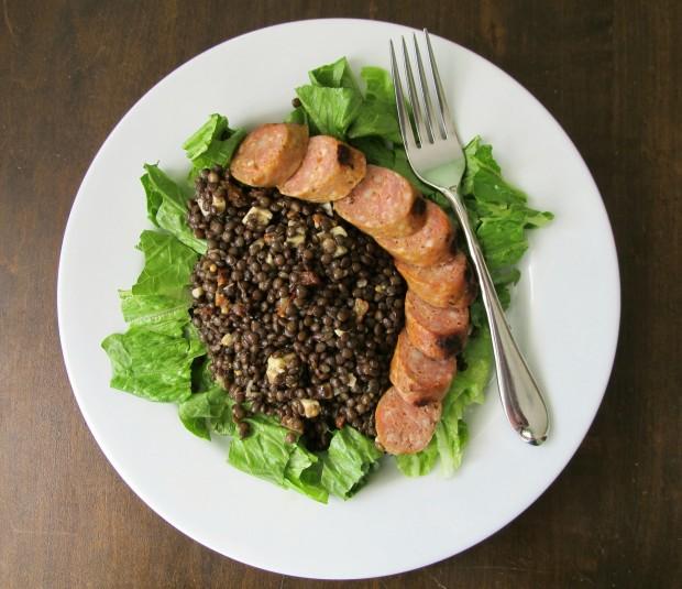 Beluga lentils and grilled sausage
