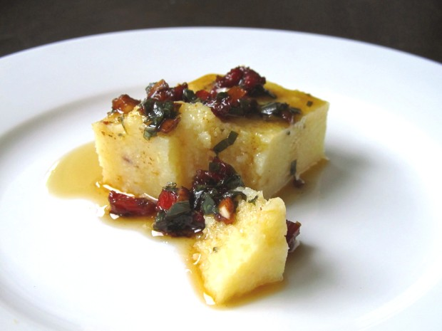 Polenta with sun-dried tomato basil vinaigrette
