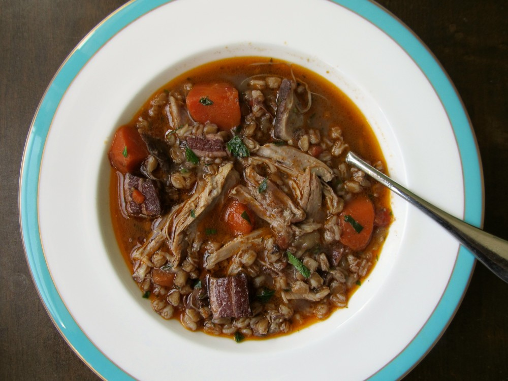 Duck and farro stew