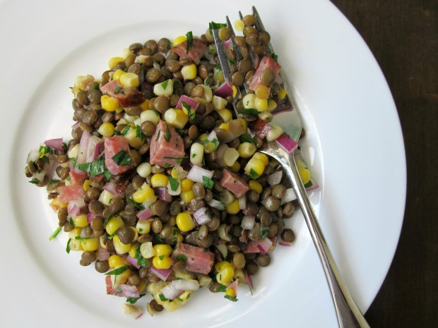 Corn and lentil salad