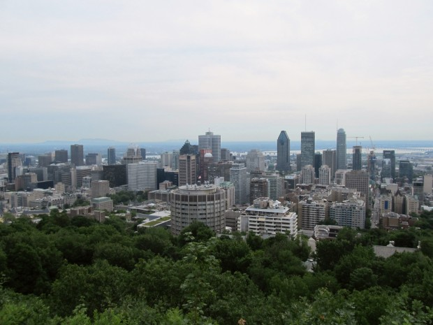 Looking down on the city from Mont Royal overlook