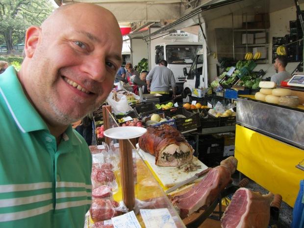 ...selling porchetta...