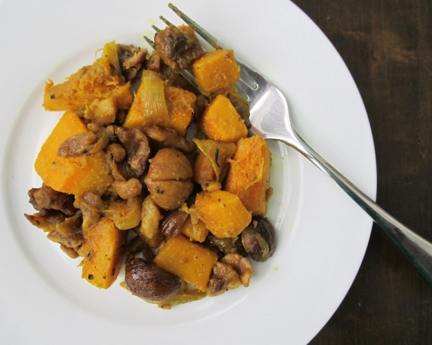 Thanksgiving side dish Pumpkin with chestnuts