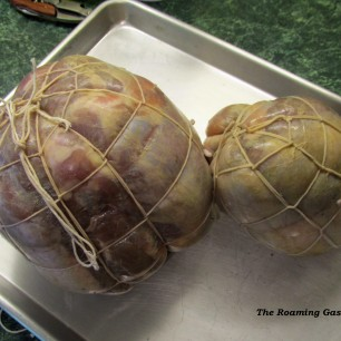 The culatello and fiocco tied and ready to be hung for drying. See how round it looks? It lost about 40% of its weight.