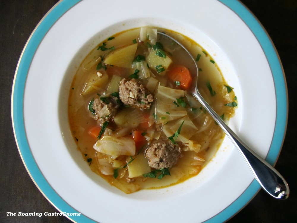 Cabbage Potato Sausage soup