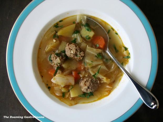 Cabbage Potato Sausage soup