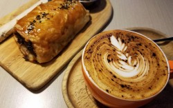 Sausage roll and coffee